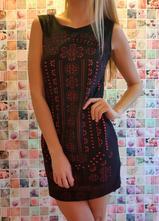 Semišové šaty čierno-červené, gate,l