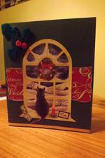 moja 5.vianocna pohladnica a zas sa recyklovalo /obrazok je z 9 rokov starej pohladnice - pridal sa baliaci papier a ozdoba z filcu a je to hotove
