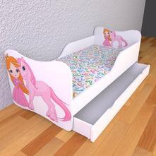Detská posteľ s pevnými bočnicami - jednorožec,