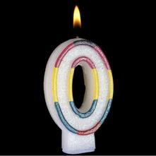 Narodeninová sviečka s perleťou v tvare 0,