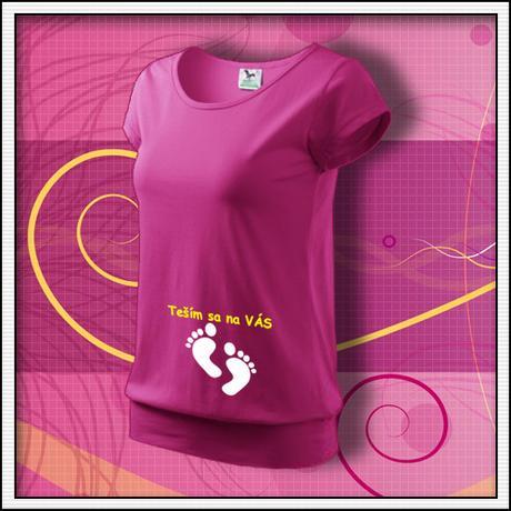 06b11cd33545 Teším sa na vás - tehotenské tričko s potlačou