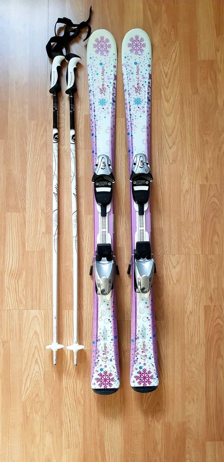 64f8af3d1 120cm carvingové lyže + viazanie + paličky, - 120 € od predávajúcej premamu  | Detský bazár | ModryKonik.sk