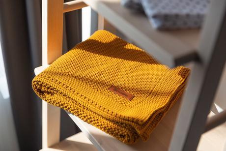 Sensillo bavlnená pletená deka horčicová 100x80 cm,