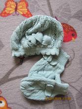 Zelená čiapka a rukavice, h&m,56