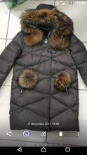 Zimná páperová bunda s pravou kožušinkou veľ.38, 38