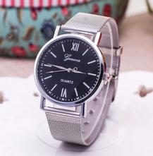 Luxusní dámské hodinky geneva silver   black d764b36ed0c
