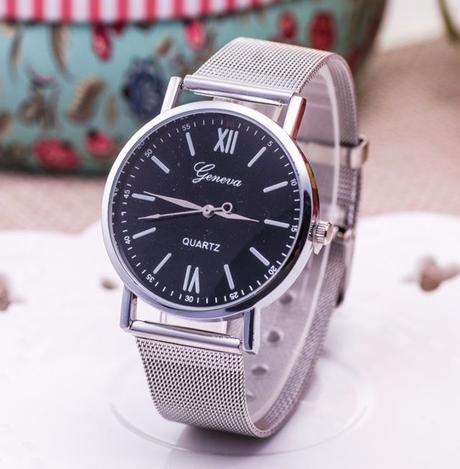 Luxusní dámské hodinky geneva silver   black 397d095bdd6