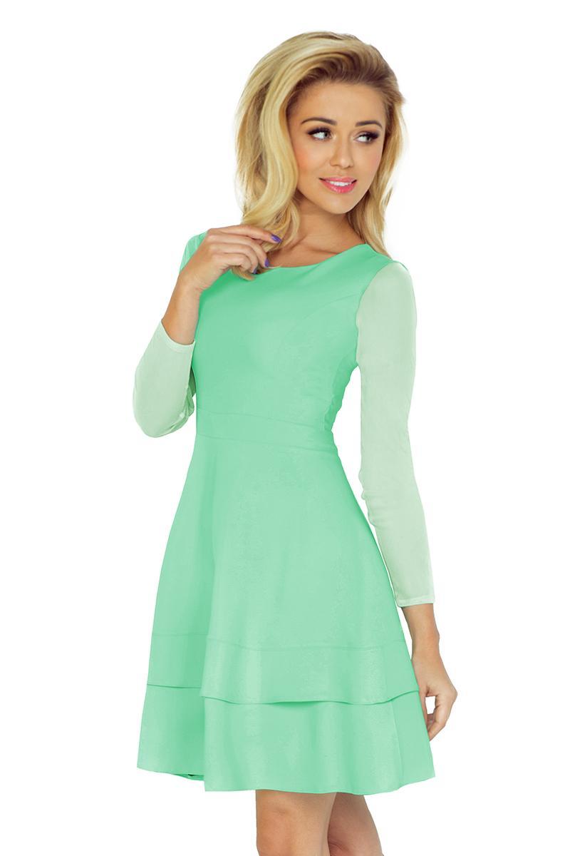 Mentolové šaty s tylovými rukávmi 64a9cb1bd18
