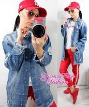 Štýlová dámska dlhá jeans bundička, l / m / s / xl