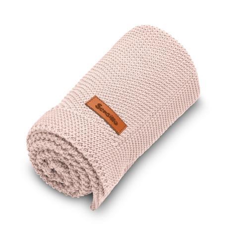 Sensillo bavlnená pletená deka ružová 100x80 cm,