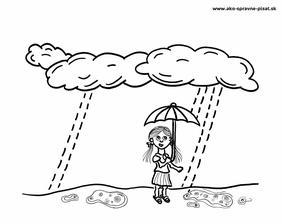 Dážď - Dokresli z oblakov padajúce kvapky dažďa.