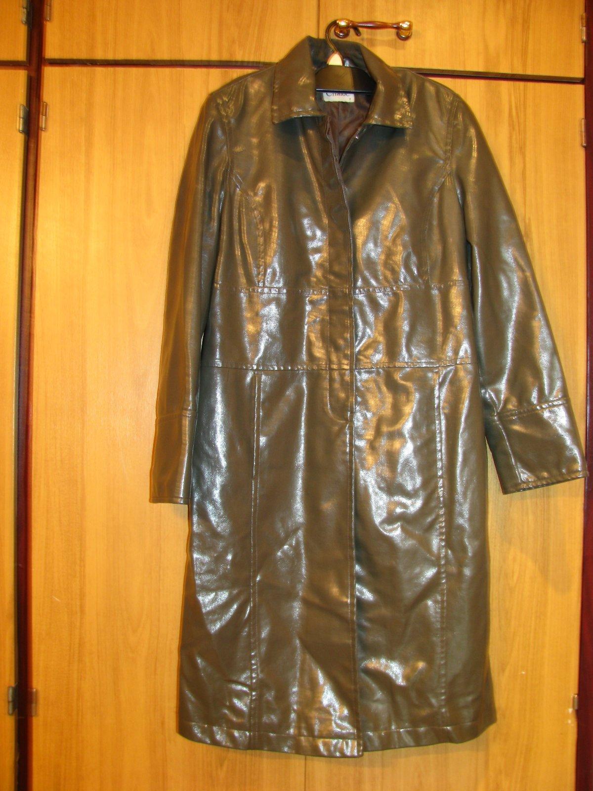 Dámsky dlhý prechodný lesklý kabát 496b38fabb8