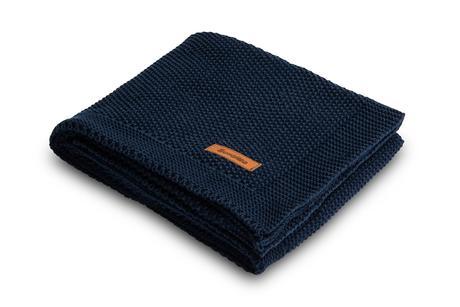 Sensillo bavlnená pletená deka tmavo-modrý 100x80,