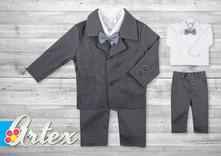 Oblek+košeľa pre chlapčeka - kockovaný, 56 - 98