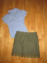 Čipkovaná sukňa + košeľa, h&m,m