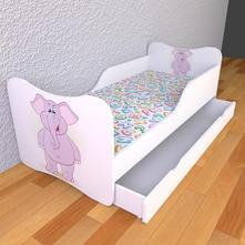Detská posteľ s pevnými bočnicami - sloník,