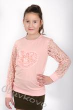 Dievčenské tričko s dlhým rukávom mm 380 pink, 104 - 158