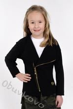 Bavlnená dievčenská mikina kabátik mm 926 black, 86 - 122