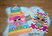 Krásne šatičky lolky pre malé dámy s kabelkou, 92 - 128