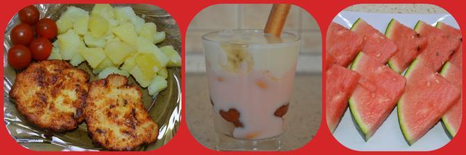 Strapaté kuracie rezne,vanilkový+jahodový puding s ovocím a zahájena melónová sezóna