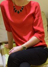 Červené orsay tričko - blúzka, veľkosť s, orsay,s