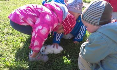 deticky sa vonku zasa tesia malym zajacikom