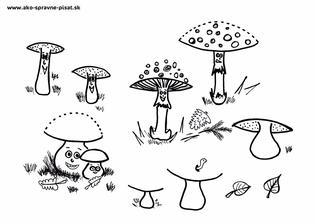 Hríbiky - Dokresli hríbikom klobúčiky s pomocou oblúčikov podľa predlohy.