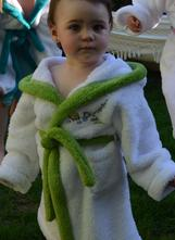 fbb144c889ed Detský župan biely so zeleným lemom melm