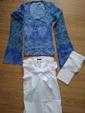 Ľahučké biele capri nohavice+azúrový top+ darček, sisley,122