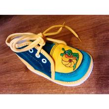 Zeleno-žlté papučky s výšivkou č.18 - 24, s´botex,17 - 24
