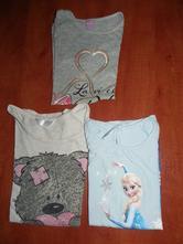 3 ks tričká krátky rukáv, disney,128