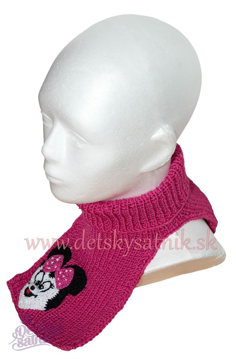 02dbce4478be Detský pletený nákrčník s myškou ružový