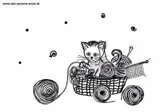 Mačiatko - Dokresli klbká jedným ťahom podľa predlohy.