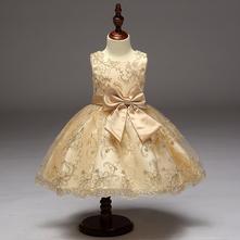 Nádherné detské šaty l9027 - krémové, 98 - 146