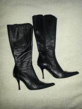 Dámske čierne čižmy vysoký opätok, zips, 38