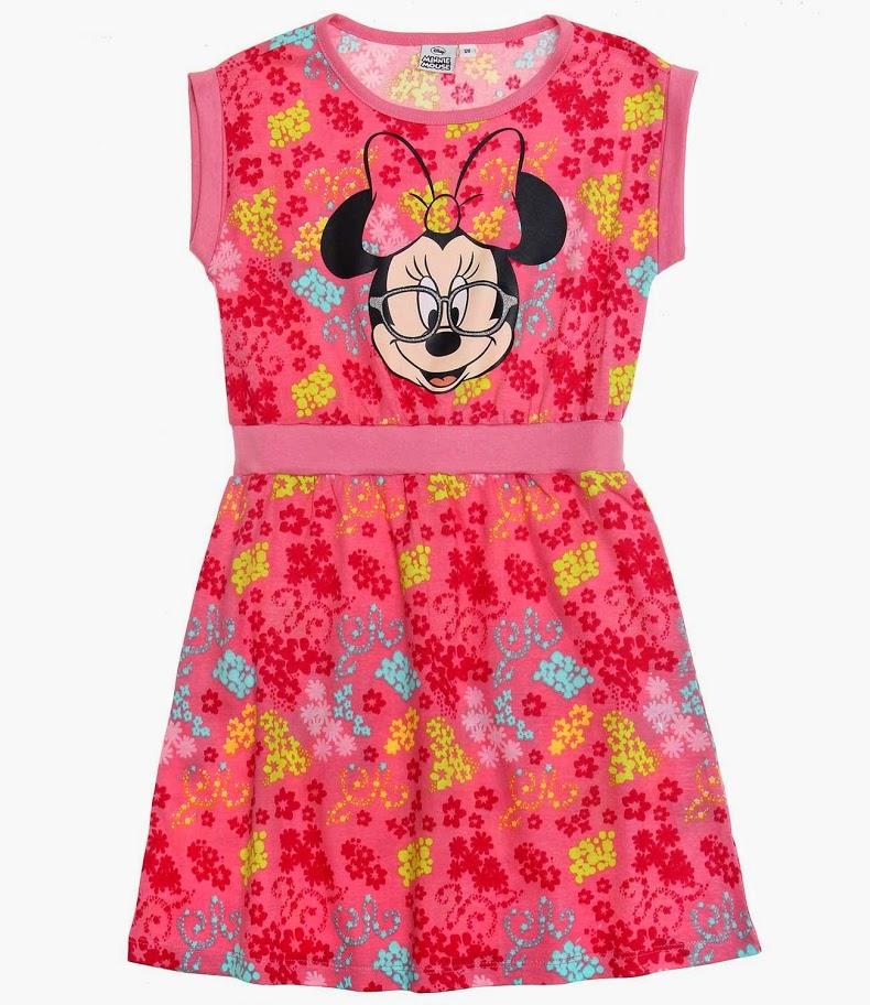 Letné dievčenské šaty minnie s krátkym rukávom ruž 28367c7d921
