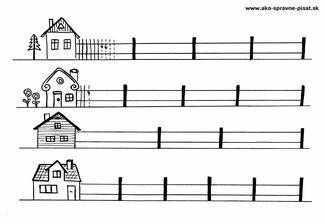 Ploty - Nakresli k domčekom ploty pomocou rovných čiar podľa predlohy.