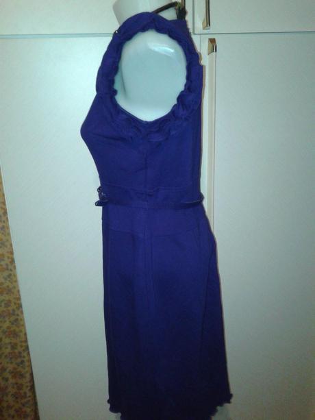 Slivkovomodré úpletové šaty s volánmi na rukávoch e9e45f6bf79