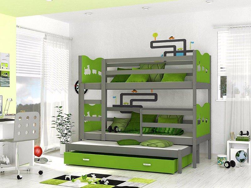 cdbced859ae43 Max 3 - 3-lôžková poschodová posteľ grafit-zelená, 80,180 - 330 € od  predávajúcej danciacik | Detský bazár | ModryKonik.sk
