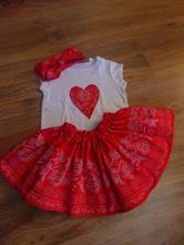 Detská folk súprava-sukňa, tričko, čelenka, 98 - 146