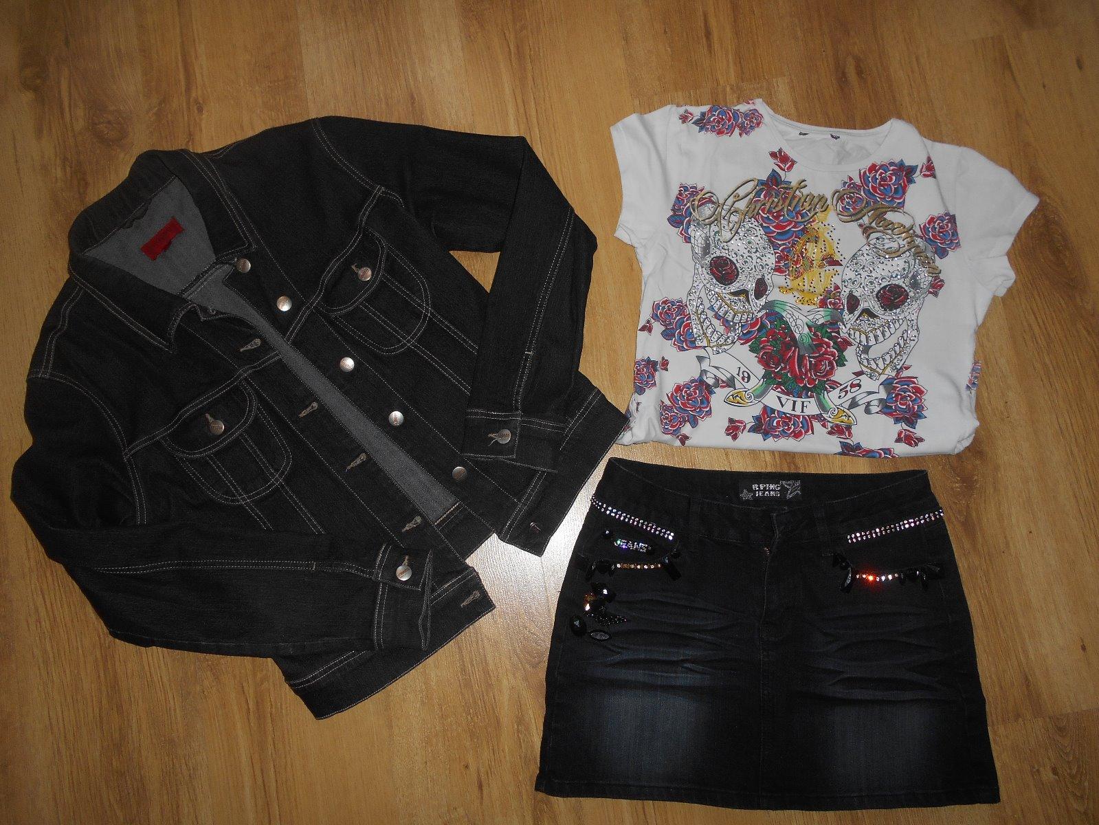 fb6916688fe5 Riflová bunda+sukna+tričko