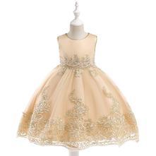 Krásne detské šaty l9029 - krémové, 98 - 146