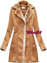 e2e662c0fe13 Semišový kabát s kožušinou - nová kolekcia
