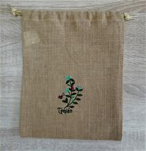 Jutové vrecúško na bylinky tymián,