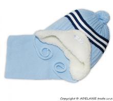Zimná čiapočka s kožušinkou a šálom baby , 50 - 158