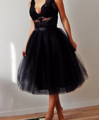36ded3bf5606 Skladom moderná tylová čierna tutu sukňa