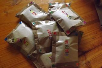 moje party bags z hnedeho baliaceho papiera - caka nas detska oslava 2. rokov Jakubka....tak som volila toto namiesto klasickych plastovych vrecusok