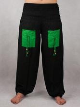 Turecké nohavice aladinky haremky čierno-zelene, l / m / s / xl