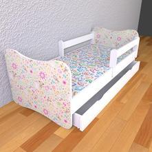 Detská posteľ s odnímateľnými bočnicami kresbičky,