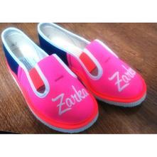 Hotové papučky s menom zarka č.26 v neonk.ružovej, s´botex,26